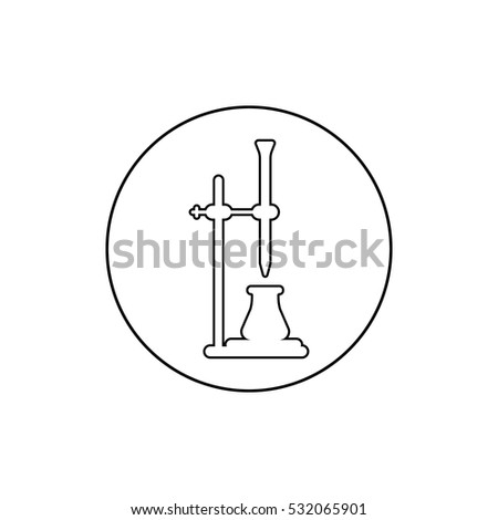 Chemistry Logo With Bulb Burette And Stand Titration In White