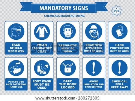 Chemical or Medical Mandatory sign (hair contained, corrosive gloves, boots, safety goggles, explosive gas, no open flame, chemical hazard, poison gas breathing apparatus, avoid contact skin) - stock vector