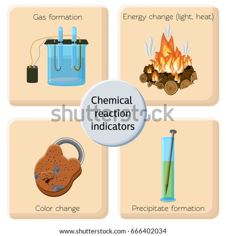 Chemical reaction indicators infographics chemical changes stock chemical reaction indicators infographics chemical changes stock vector 666402034 shutterstock ccuart Gallery