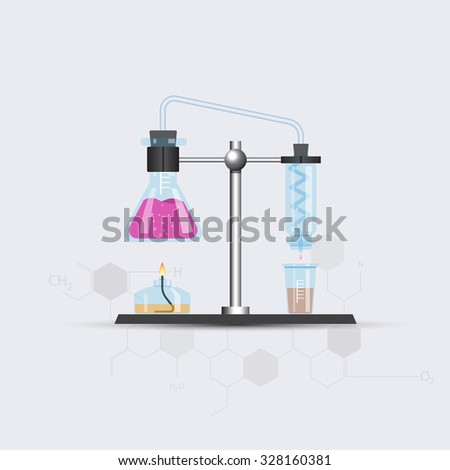 Chemical rectifier with chemical chain. Vector illustration - stock vector