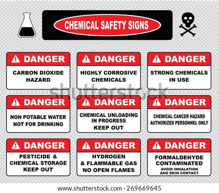 Chemical safety signs (carbon dioxide hazard, highly corrosive chemicals, non potable water not for drinking, chemical unloading, cancer hazard, pesticide chemical storage, hydrogen flammable gas) - stock vector