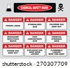 Chemical safety signs (caustic hazard, toxcid chemicals, battery acid, chemical spill, inhalation hazard, vapors toxcid, irritant avoid skin contact, corrosive, wear goggles rubber gloves, hazardous). - stock vector