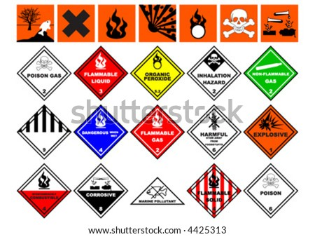 Chemical safety symbols over white background - stock vector