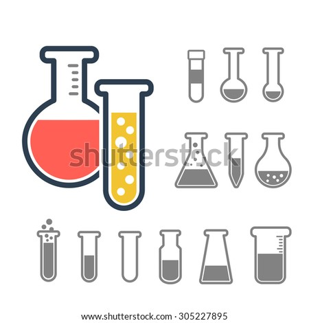 Chemical test tube icons set. Chemical lab equipment isolated on white. Experiment flasks for science experiment.  - stock vector