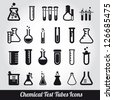 Chemical test tubes icons illustration vector - stock photo