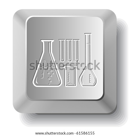 Chemical test tubes. Vector computer key. - stock vector