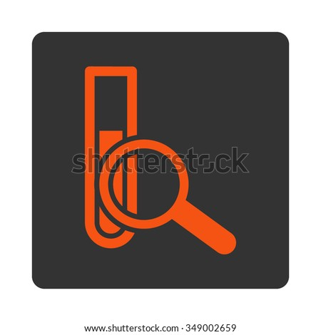 Chemical Test vector icon. Style is flat rounded square button, orange and gray colors, white background.