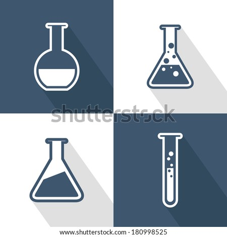Chemical tubes icons set. Flat design with long shadow. Vector illustration - stock vector