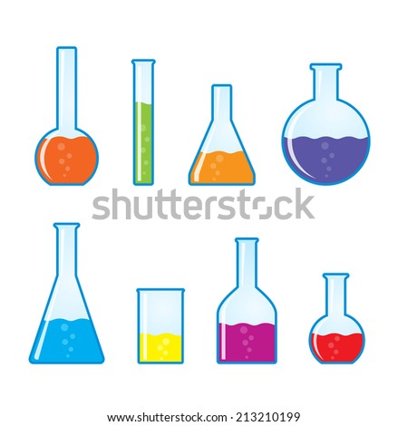 Chemical tubes icons set. Vector illustration