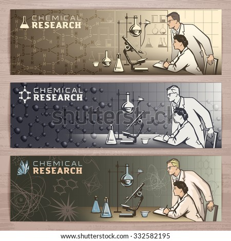 Chemical vector banner design with scientists waiting for results of research in the laboratory.Brochure,flyer,booklet,card template for product promotion and advertising isolated on wood background - stock vector