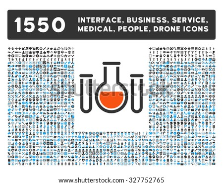 Chemical Vessels and other web interface, business tools, people poses, medical service vector icons. Style is flat symbols, bicolored, rounded angles, white background.
