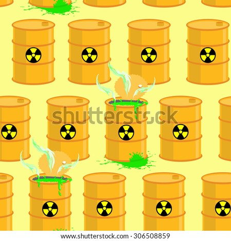 Chemical waste dump. Seamless pattern with barrels of biohazard. Vector background of yellow barrels of green acid. - stock vector