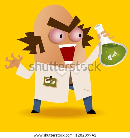 chemical weapon by mad scientist. Vector illustration - stock vector
