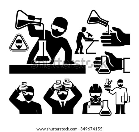 Chemist and Material Scientist icons vector - stock vector