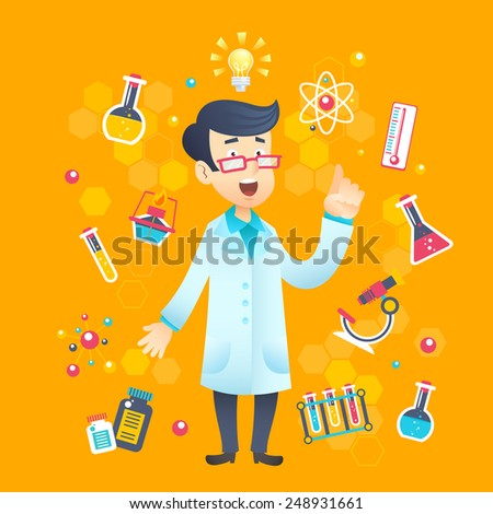 Chemist scientist character with scientific and education test equipment vector illustration - stock vector