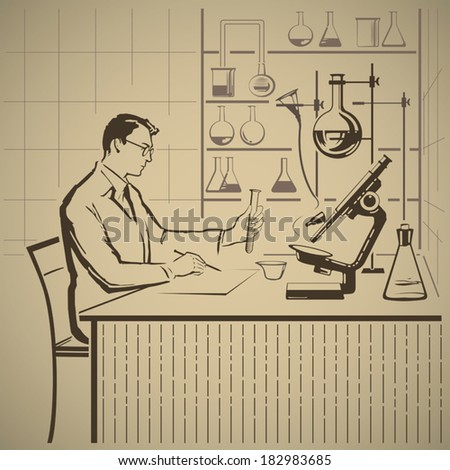 Chemist writing report about scientific research in laboratory vector illustration - stock vector