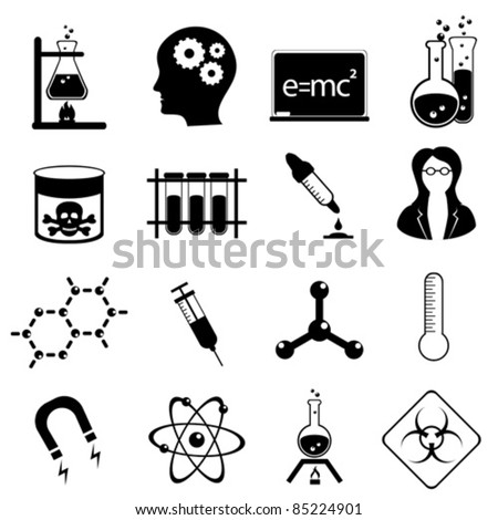 Chemistry and medical science icon set in black - stock vector