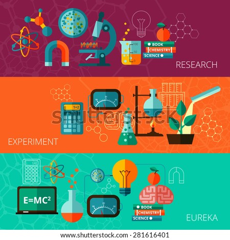 Chemistry and physics scientific research experiment eureka moment concept  flat horizontal banners set abstract isolated vector illustration - stock vector