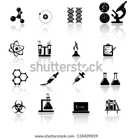 Chemistry and science icon set - stock vector
