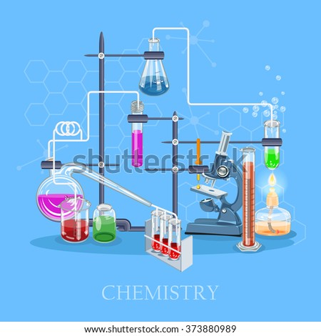 Chemistry and science infographic. Chemistry icons background for biology and medical research posters - stock vector