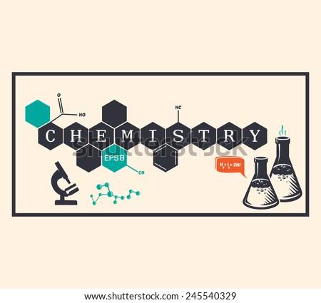 Chemistry background, chemistry inscription. Vector illustration - stock vector