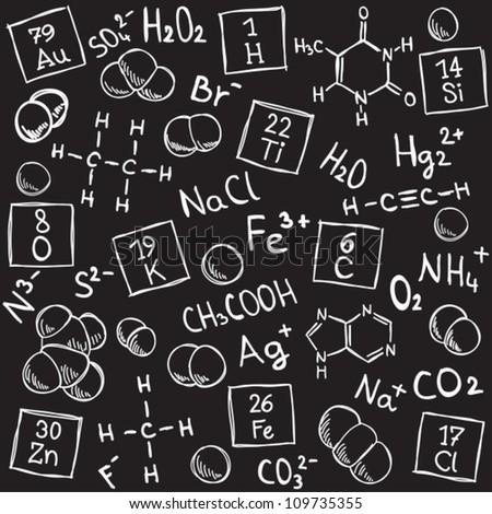 Chemistry background - molecule models and formulas - hand-drawn illustration - stock vector