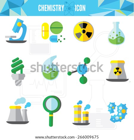 Chemistry bio technology science flat icons set of molecule nuclear power and microscope for school education isolated vector illustration - stock vector