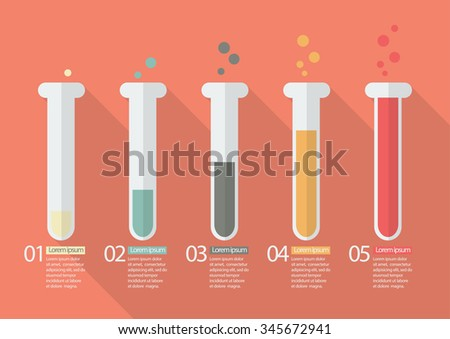 Chemistry Bulb Bar Graph Infographic. Vector Illustration - stock vector