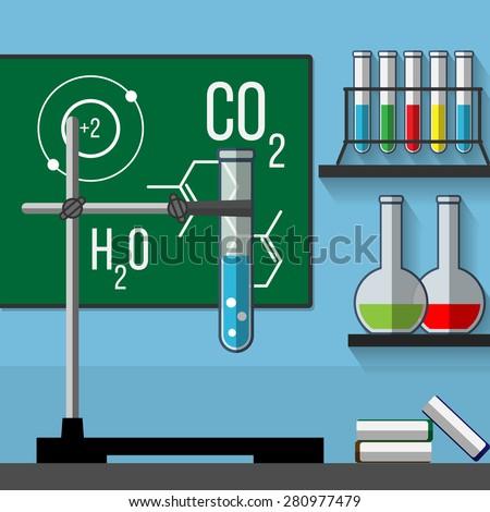 Chemistry classroom. Vector illustration - stock vector