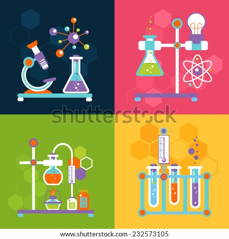 Chemistry decorative flat icons set with lab test and research equipment isolated vector illustration - stock vector