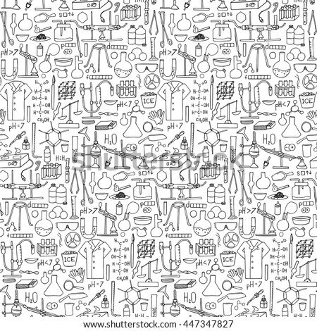 Chemistry Doodle Hand Drawn Seamless Pattern Stock Vector ...