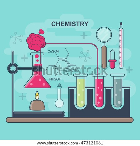Chemistry equipment, laboratory tests, flat style