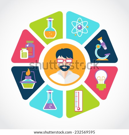 Chemistry flat concept with lab research equipment and scientist in the middle vector illustration - stock vector