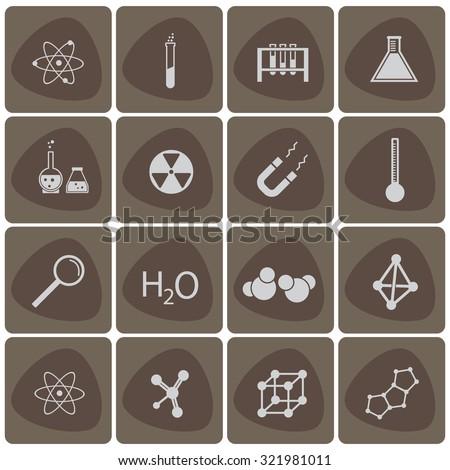 Chemistry icon vector set white - stock vector