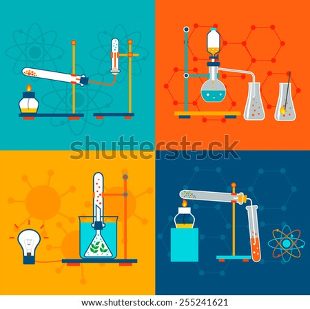 Chemistry icons set in flat design style. Includes chemical laboratory tests, science experiments  research equipment,  vector illustration