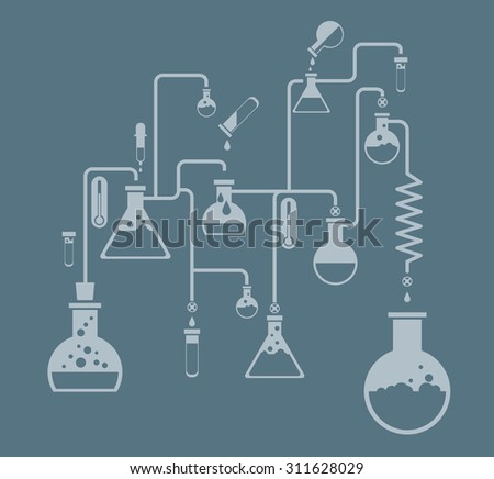 Chemistry infographics template showing various tests being conducted in laboratory glassware using colorful chemical solutions and reactions on a grey background conceptual of science and industry - stock vector