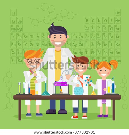 Chemistry laboratory. Chemistry test. Chemistry experiment. Children are studying and working in chemistry lab. Isolated chemistry. Chemistry fun. Chemistry concept. Chemistry lesson. Medical test. - stock vector