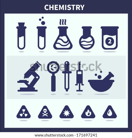 Chemistry research flat icon set - stock vector