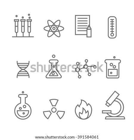 Chemistry science and bio technology line icons. Biology molecular,  vector  - stock vector