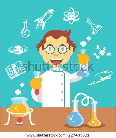 Chemistry scientist color flat vector illustration - stock vector