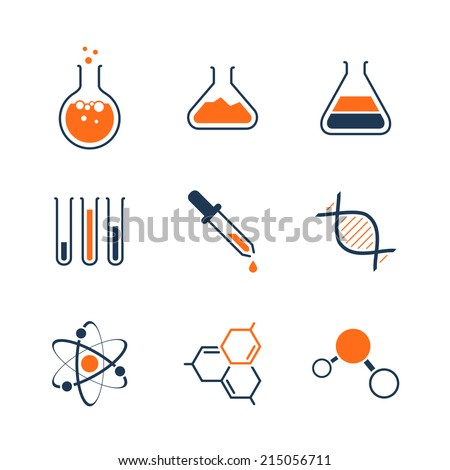 Chemistry simple vector icon set - bottles, tubes, liquids, dna, molecules and atoms - stock vector