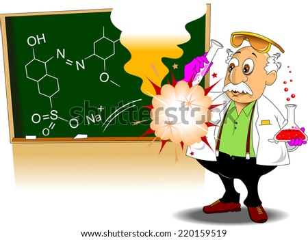 chemistry teacher shows chemical experience, vector and illustration - stock vector