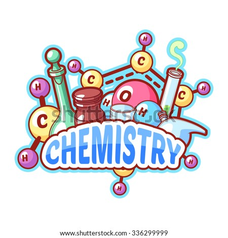Chemistry title with chemical elements and flasks on a white background for poster design. Vector clip-art illustration - stock vector