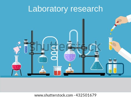 Chemists scientists equipment. flat design workspace concept. Chemistry and physics biology infographic icons. Laboratory lab with alembic vial hourglass dropper, vector illustration - stock vector
