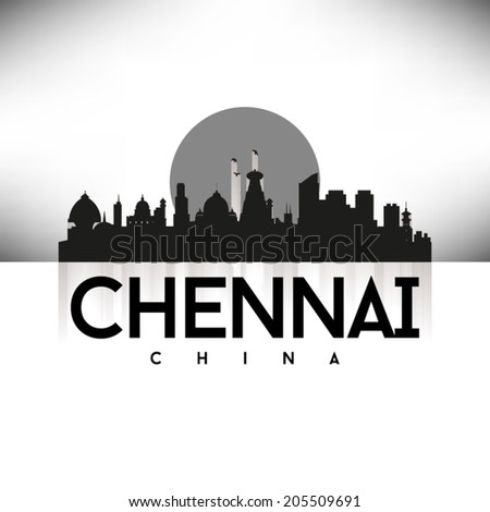 Chennai China Black Skyline Silhouette vector illustration, Typographic design. - stock vector