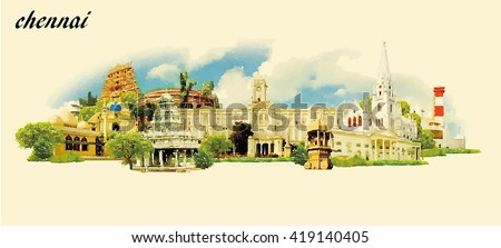 CHENNAI city water color panoramic vector illustration - stock vector