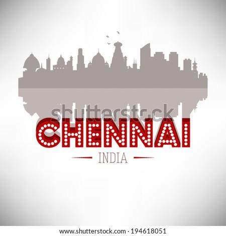 Chennai India skyline silhouette design, vector illustration. - stock vector