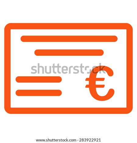 Cheque from BiColor Euro Banking Icon Set. Vector style: flat, orange symbol, rounded angles, white background. - stock vector