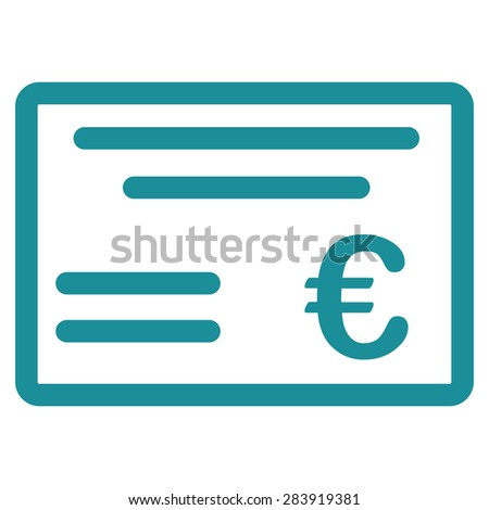 Cheque from BiColor Euro Banking Icon Set. Vector style: flat, soft blue symbol, rounded angles, white background. - stock vector