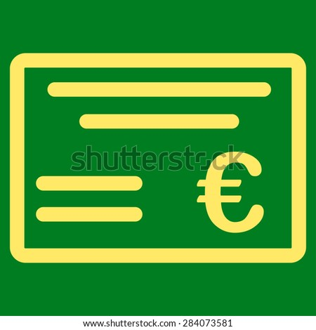 Cheque from BiColor Euro Banking Icon Set. Vector style: flat, yellow symbol, rounded angles, green background. - stock vector